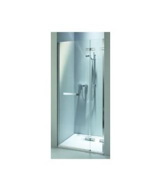 Drzwi wnękowe z relingiem KOŁO NEXT 120. prawostronne Szkło przezroczyste. profil srebrny połysk