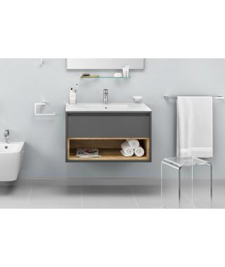 Zestaw TUTO 60cm szafka pod umywalkę nablatową szary/dąb + umywalka AS EXCELLENT