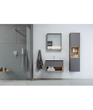 Zestaw TUTO 70cm szafka pod umywalkę nablatową szary/dąb + umywalka AS EXCELLENT