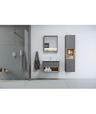 Zestaw TUTO 80cm szafka pod umywalkę nablatową szary/dąb + umywalka AS EXCELLENT