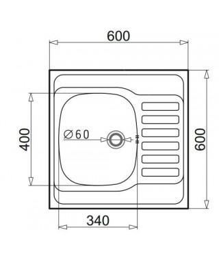 Zlewozmywak stalowy PYRAMIS INTL 60x60 1B gładki prawy