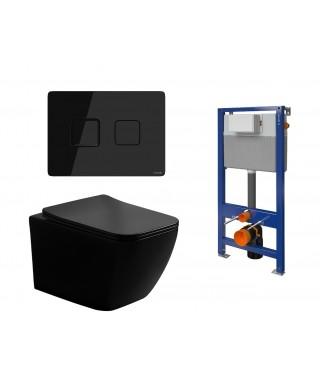 Set stelaż Aqua 52 + miska z deską Lino black + przycisk Accento square black