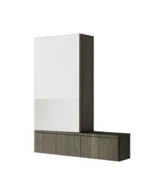 Szafka wisząca KOŁO NOVA PRO 70.8 x 85 x 17.6 cm. z lustrem. lewa. szary jesion
