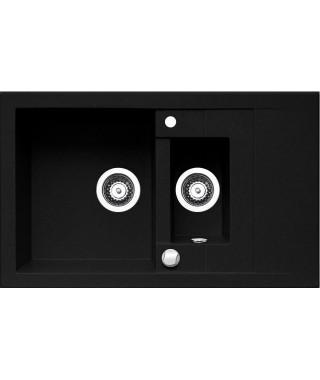 Zlewozmywak granitowy czarny PYRAMIS STUDIO 78x48 1 1/2B 1D