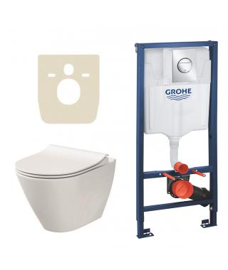 Stelaż do WC podtynkowy GROHE Rapid SL 3w1 + przycisk Nova Cosmopolitan S chrom + kątownik