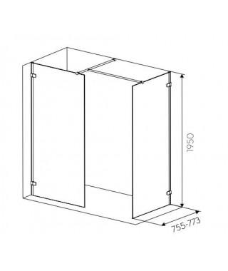 Ścianka boczna z relingiem KOŁO NEXT 80 szkło przezroczyste.profil srebrny połysk