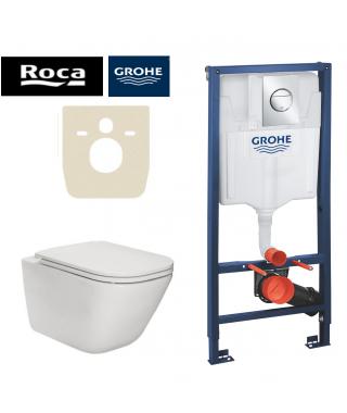 Set Stelaż do WC podtynkowy GROHE Rapid SL 3w1 + miska z deską LAVITA Sogo + mata