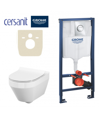 Set Stelaż do WC podtynkowy GROHE Rapid SL 3w1 + miska z deską CERSANIT Crea owalna