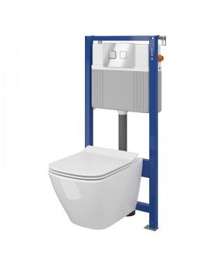 CERSANIT City Square Set B286 miska WC CleanOn z deską wolnoopadającą i stelaż podtynkowy z przyciskiem Movi chrom S701-450