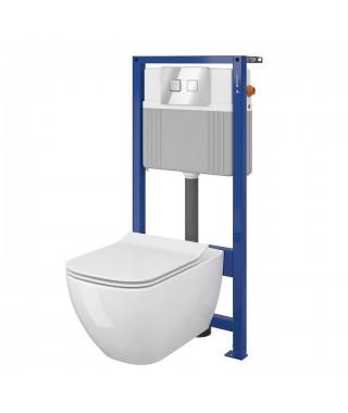 CERSANIT VIRGO Set B227 miska WC CleanOn z deską wolnoopadającą i stelaż podtynkowy z przyciskiem Accento Circle chrom S701-406