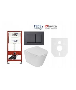 Zestaw Stelaż TECE Base 9400007 + Lavita Galve + przycisk TECENow czarny mat 9240407 + mata