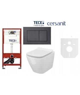 Zestaw Stelaż TECE Base 9400007 + Cersanit City Square + przycisk TECENow czarny mat 9240407 + mata