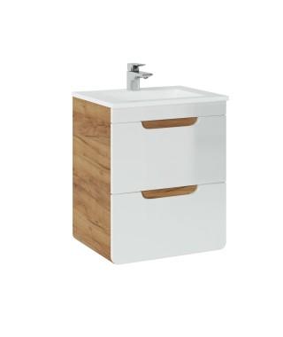 COMAD ARUBA 824 Szafka pod umywalkę 50x39cm - Dąb Craft złoty / Biały Połysk