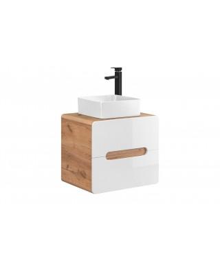 ARUBA 828 Szafka pod umywalkę nablatową 60 2S - Dąb Craft Złoty / Biały Połysk
