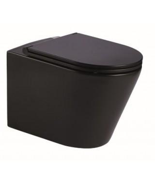 LAVITA Galve black rim+ miska wisząca z deską wolnoopadającą slim