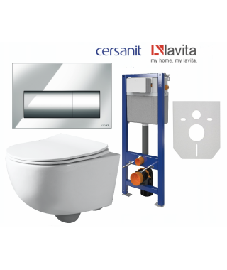 Zestaw Stelaż Cersanit Aqua22 + Lavita BRAVA + przycisk Presto chrom