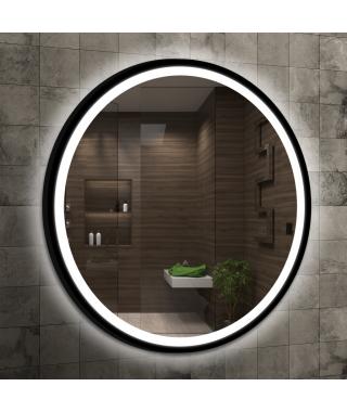 LAVITA Dafne Dafne lustro ścienne 80 cm z oświetleniem LED czarny mat 5908211499635