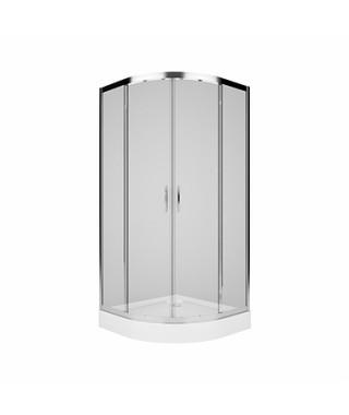 KOŁO REKORD Kabina półokrągła 90cm z drzwiami rozsuwanymi, szkło hartowane, przezroczyste, profil srebrny połysk PKPG90222003