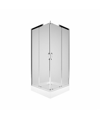KOŁO REKORD Kabina kwadratowa 80cm z drzwiami rozsuwanymi, szkło przezroczyste, profil srebrny połysk PKDK80222003