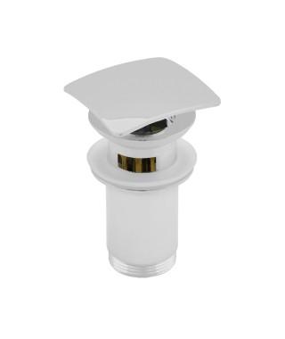 NEXE korek click-clack z przelewem, przycisk duży, wysoki z koszem, kwadratowy, wypukły, biały 36-300-0020-001