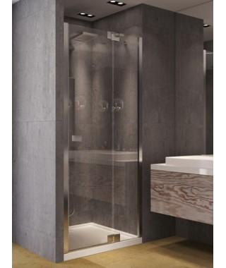 Drzwi prysznicowe uchylne NEW TRENDY KAMEA 100/200 chrom, szkło czyste, lewe