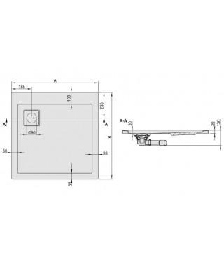 Brodzik kwadratowy 80x80x3cm SANPLAST B/SPACE srebrny