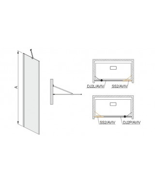 Drzwi skrzydłowe 100x200cm DJ2P/AVIV-100 SANPLAST profil chrom/srebrny błyszczący. wzór szyby W0. prawe