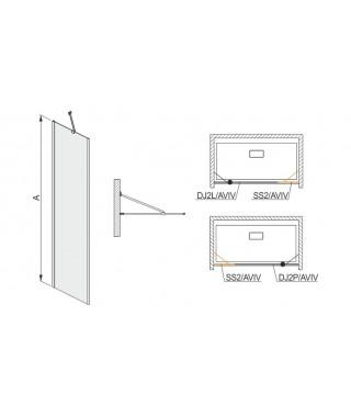 Drzwi skrzydłowe 120x200cm DJ2P/AVIV-120 SANPLAST profil chrom/srebrny błyszczący. wzór szyby W0. prawe