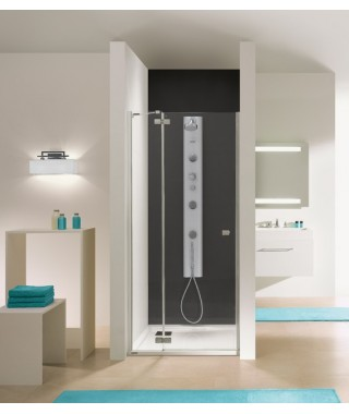 Drzwi prysznicowe 100x195cm SANPLAST DJ2/FREE-100-S. profil chrom/błyszczący. wzór szyby W0