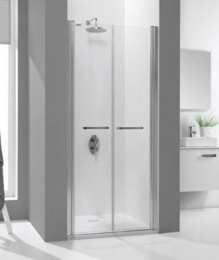 Drzwi prysznicowe 90x195cm SANPLAST DD/PRIII-90-S. profil srebrny błyszczący. wzór szyby W0