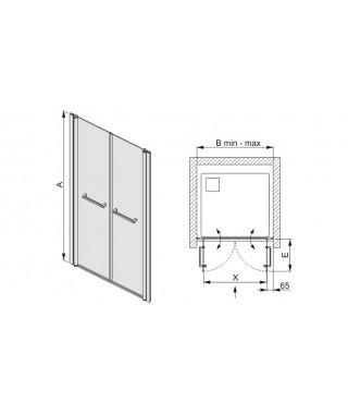 Drzwi prysznicowe 110x195cm SANPLAST DD/PRIII-110-S. profil srebrny błyszczący. wzór szyby W0