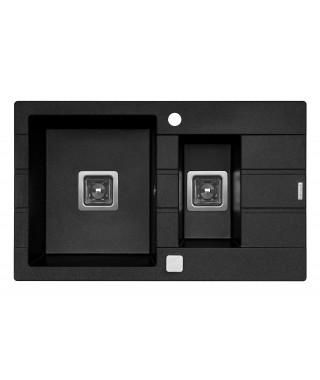 Zlewozmywak czarny PYRAMIS ARKADIA 78x40 . 1 1/2B 1D