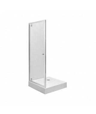 Drzwi wnękowe KOŁO PIVOT FIRST 80 Szkło hartowane SATYNA - profile srebrne połysk
