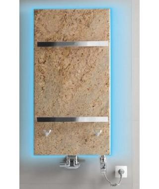 Grzejnik łazienkowy GORGIEL FORTIS B 975/535 (LED biały+VIP kolor osłony z kamienia jasny brązowy)