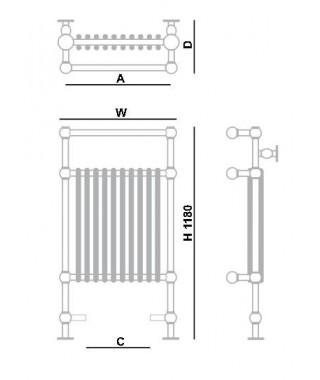Grzejnik łazienkowy GORGIEL RUBIN II 1180/800 643W popielaty pirytowy/chrom