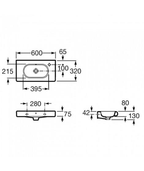 Umywalka ROCA MERIDIAN-N Compacto 60x32 z otworem na baterię po lewej stronie