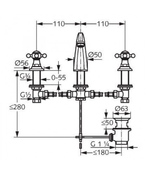 Bateria umywalkowa retro 3-otworowa chrom KLUDI ADLON