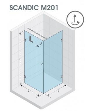 Kabina kwadratowa 90x90 RIHO Scandic M201 prawe, szkło przezroczyste