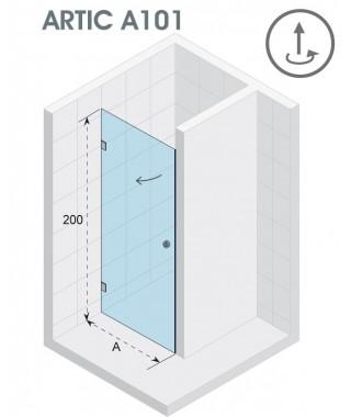 Drzwi prysznicowe 90 RIHO ARTIC A101 lewe, szkło przezroczyste