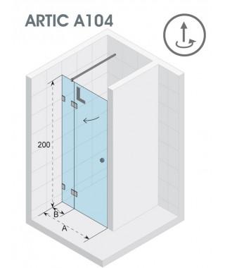Drzwi prysznicowe 120 RIHO ARTIC A104 lewe, szkło przezroczyste