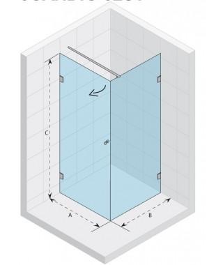 Kabina kwadratowa 90x90 RIHO Scandic S201 prawa, szkło przezroczyste