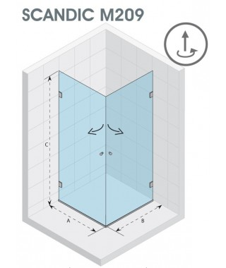 Kabina kwadratowa 90x90 RIHO Scandic M209 szkło przezroczyste