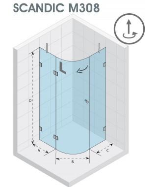 Kabina półokrągła 100x100 RIHO Scandic M308 prawa, szkło przezroczyste