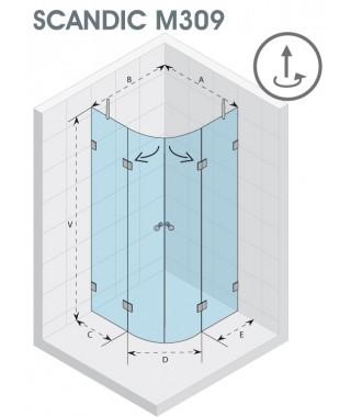 Kabina półokrągła 100x100 RIHO Scandic M309 szkło przezroczyste
