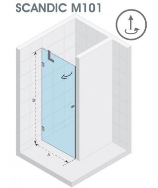 Drzwi prysznicowe 70 RIHO Scandic M101 prawe, szkło przezroczyste