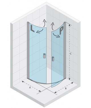 Drzwi prysznicowe 90 RIHO Nautic N308 lewe, szkło przezroczyste