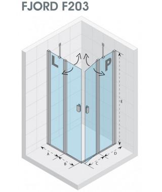 Drzwi prysznicowe 120 RIHO Fjord F203 lewe, szkło przezroczyste