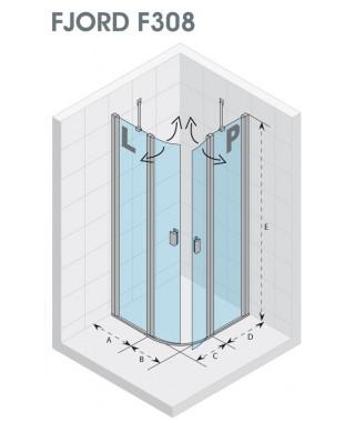 Drzwi prysznicowe 90 RIHO Fjord F308 lewe, szkło przezroczyste
