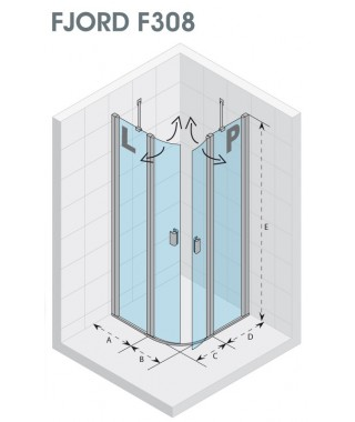 Drzwi prysznicowe 120 RIHO Fjord F308 lewe. szkło przezroczyste