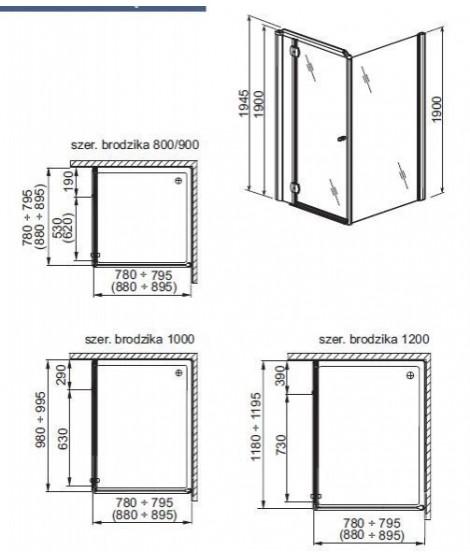 Drzwi kabinowe uchylne do montażu ze ścianką AQUAFORM SOL DE LUXE 90 lewe
